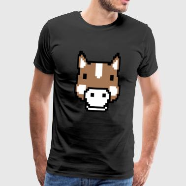 Horse Animal Nature Pixel Retro Video Game Girl - Men's Premium T-Shirt