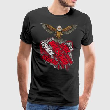 Poland map with cities, with eagle vintage - Men's Premium T-Shirt