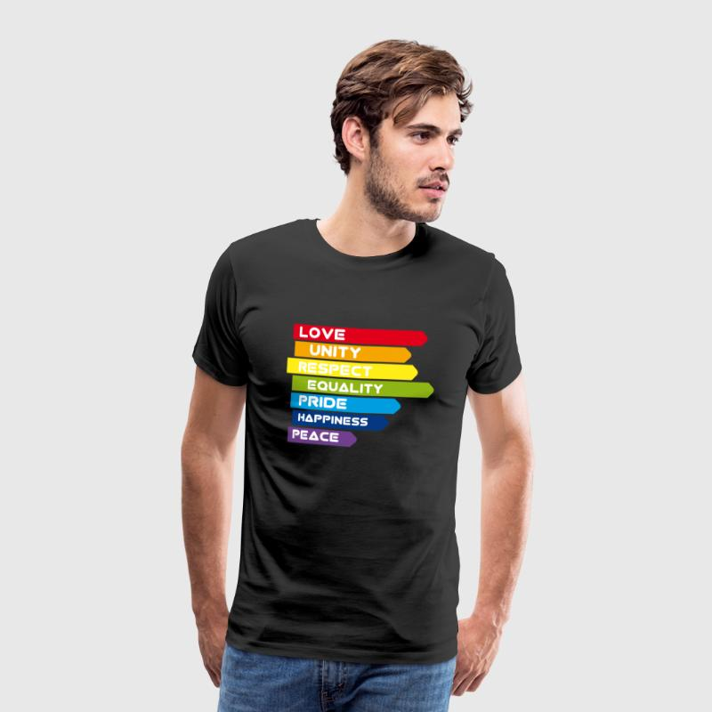 gay Love Unity Respekt Pride Peace happiness csd l - Männer Premium T-Shirt