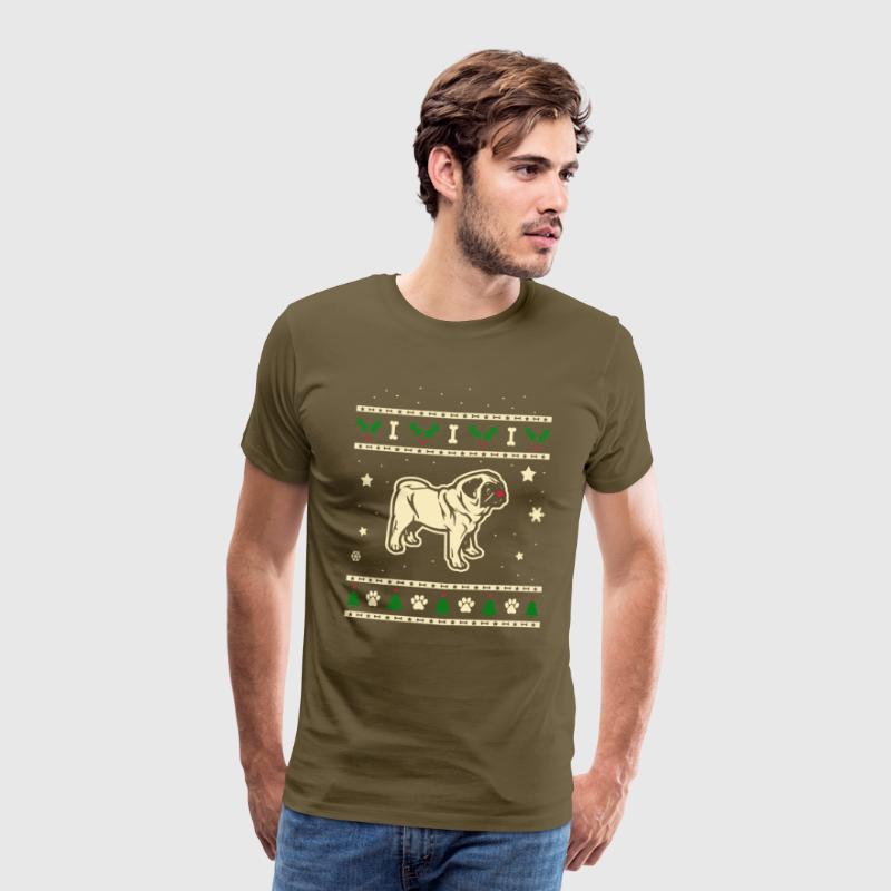 Kersttrui Mopshond.Mopshond Kerstmis Cadeau Mannen Premium T Shirt Kakigroen
