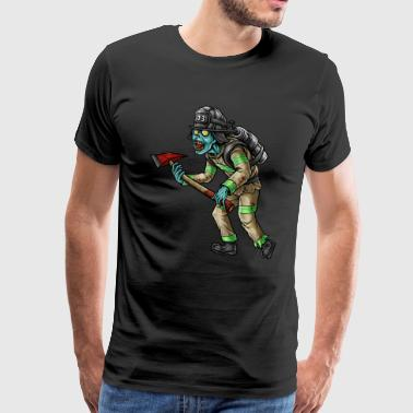 Firefighter Woman Firefighter Zombie Halloween - Mannen Premium T-shirt