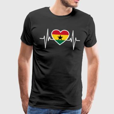Ghana flag, heartbeat gift - Men's Premium T-Shirt