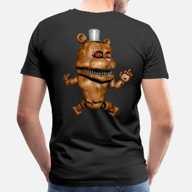 Devilish Robot monster teddy bear middle finger back - Men's Premium T-Shirt