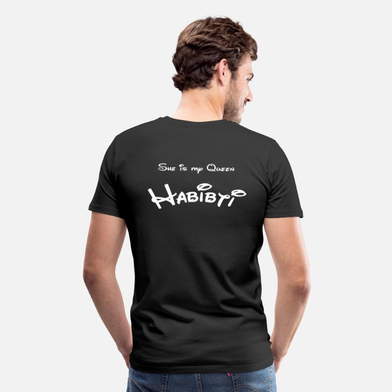 Arabic T-Shirts - She is my Queen Habibti - Men's Premium T-Shirt black