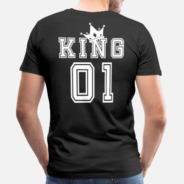King Queen Valentine's Day Matching Couples King Jersey - Miesten premium t-paita