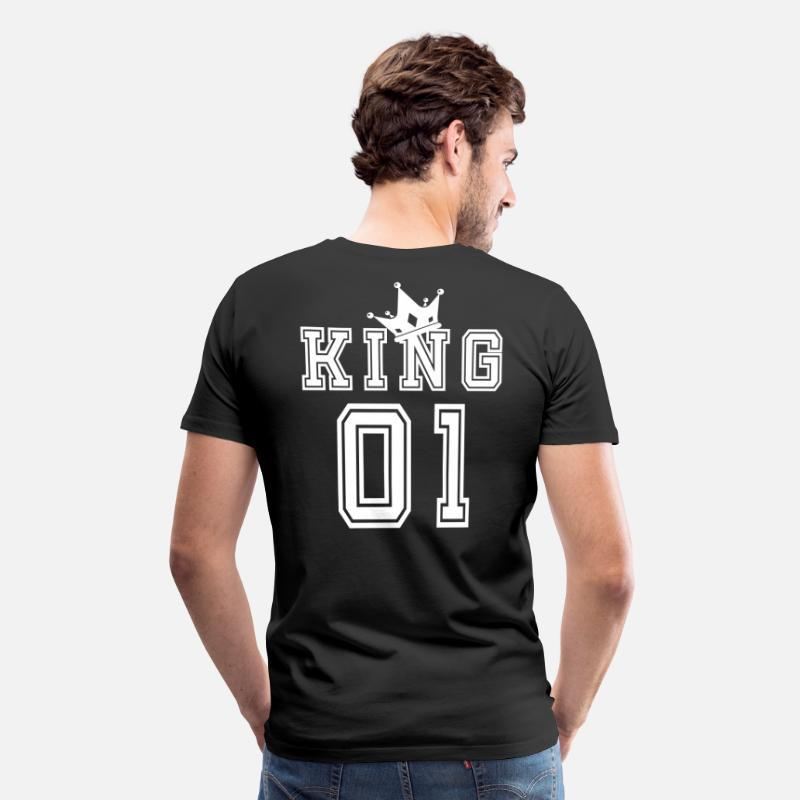 King Queen T-shirt - Valentine's Day Matching Couples King Jersey - Herre premium T-shirt sort