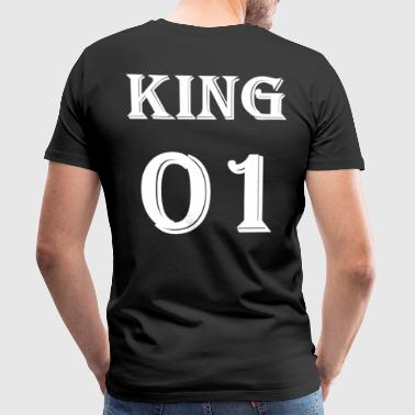 King 01 T-Shirt, King Queen Partner Shirt Black - Herre premium T-shirt