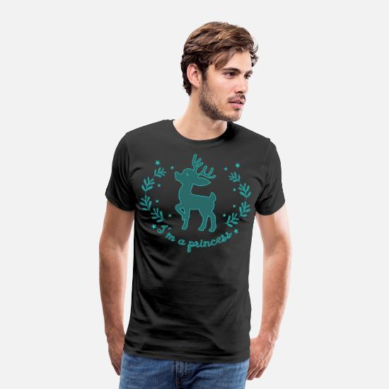 Stag T-Shirts - Beautiful deer as a princess Christmas - Men's Premium T-Shirt black