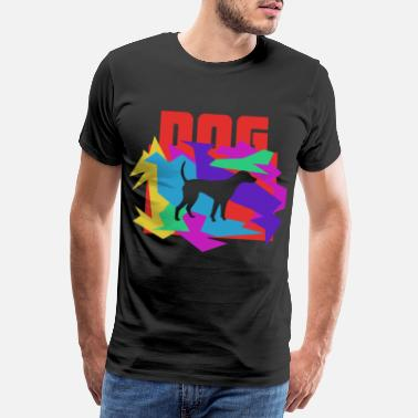 Wild Dog Colored Mosaic Puzzle - Men's Premium T-Shirt