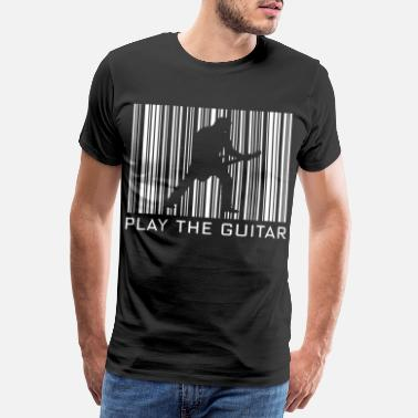 Playing Playing guitar hobby with barcode - Men's Premium T-Shirt