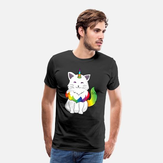 Enhjørning T-shirts - Unicorn cat - cat unicorn - Premium T-shirt mænd sort