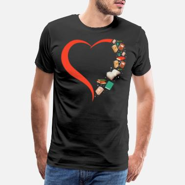 Library Book Reading Literature Books Heart - Men's Premium T-Shirt