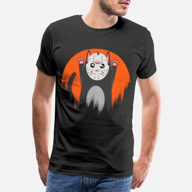 Halloween Cat Cat Meow Cat Mask Scary Creepy Jason - Men's Premium T-Shirt