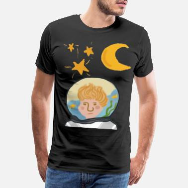 Spaceman Floating in Water and Space - Men's Premium T-Shirt