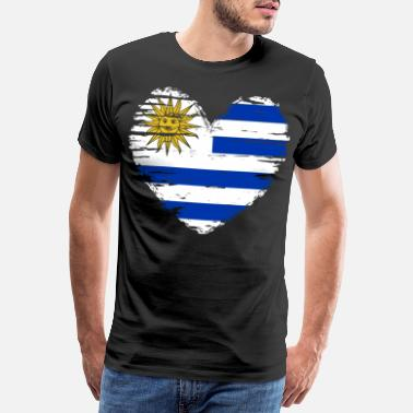 Love With Heart Uruguay Heart Flag Flag Coat of Arms - Men's Premium T-Shirt