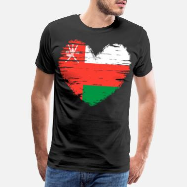 Oman Oman Heart Flag Flag Coat of Arms - Men's Premium T-Shirt