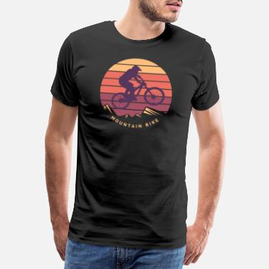 Mountainbiking Mountainbike med bjerge - Premium T-shirt mænd
