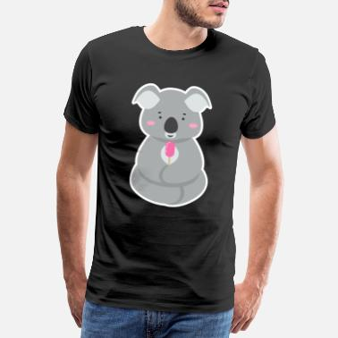 Eukalyptus Koala Bear Gave Ice Cream Summer Cute Cartoon Animal - Herre premium T-shirt