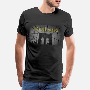 Big Apple manhattan new york bridge brooklyn black and white - Men's Premium T-Shirt