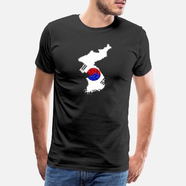 North Korea Korea map in low poly style - Men's Premium T-Shirt