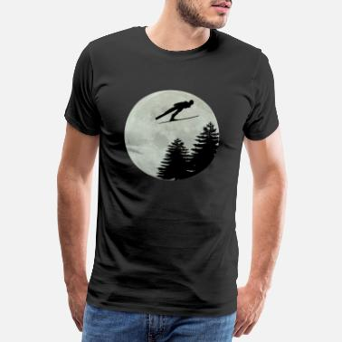 Full Moon SKI WITH MOON Ski Hopping Vinter sport fuldmåne - Herre premium T-shirt