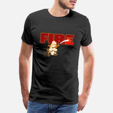 I Love Mom Firefighter Fire Hose Engine Station Brigade Gift - Premium-T-shirt herr
