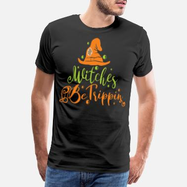 Witches Broom Halloween, Halloween Trick Or Treat, Bat - Men's Premium T-Shirt