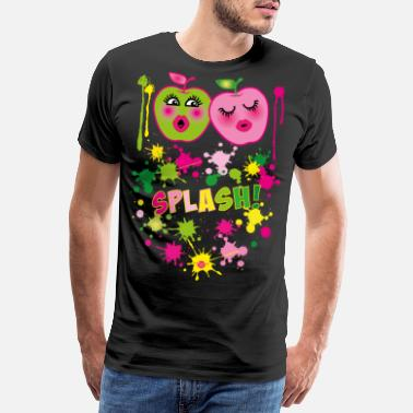 46 Birthday 46 Two apples green pink SPLASH pop art - Men's Premium T-Shirt