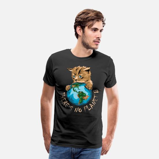 Symbol  T-Shirts - there is no planet b climate protection cat cat - Men's Premium T-Shirt black
