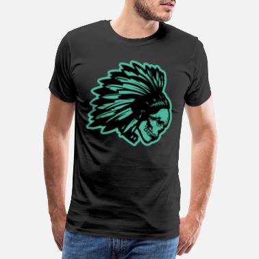 Indian Skull Indian skull with feathers gift for kids - Men's Premium T-Shirt