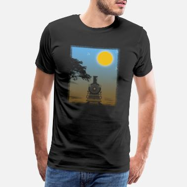 Dampflokomotive Train Sunset Gift Christmas Birthday Kids - Männer Premium T-Shirt