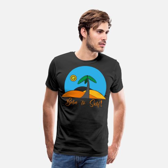Wind T-Shirts - Born to surf - Männer Premium T-Shirt Schwarz