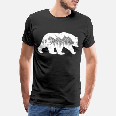 Naturelskere Grizzly Bear Art Wild Mountain Scene Outdoor Bear - Premium T-shirt mænd