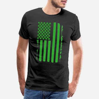 Lucky Clover St. Patrick's Day American flag Green Kleeb - Men's Premium T-Shirt