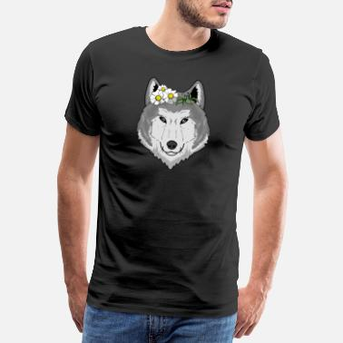 Springs Cute wolf with flowers gift I wolves wilderness - Men's Premium T-Shirt