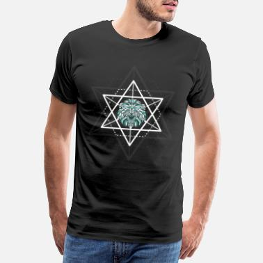 Kind geometric lion zodiac math triangle - Herre premium T-shirt