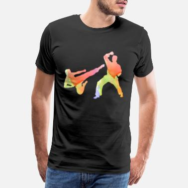 Kicker Akvarel kampsport karate fighter - Premium T-shirt mænd