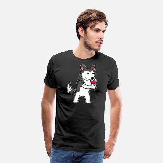 Husky T-Shirts - Wine drinker Husky dog wine drinker & dog owner - Men's Premium T-Shirt black