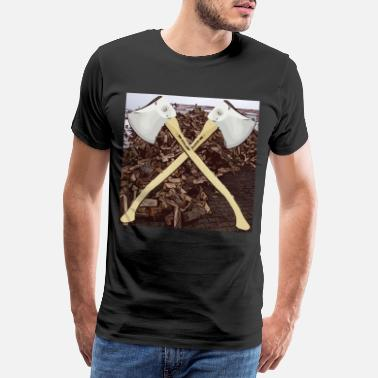 Sters Ster wood with ax lumberjack oak beech ash - Men's Premium T-Shirt