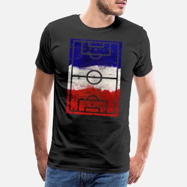 Soccer Goalkeeper Soccer Playing Field French Flag - Men's Premium T-Shirt