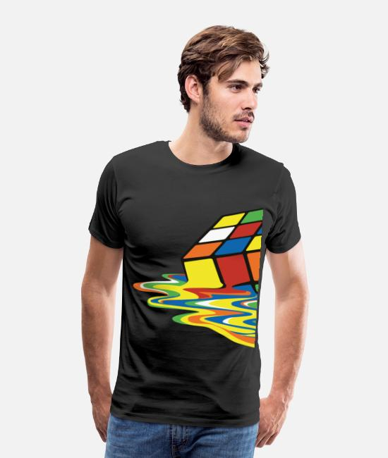Nörd T-shirts - Rubik's Cube Melted Colourful Puddle - Premium T-shirt herr svart