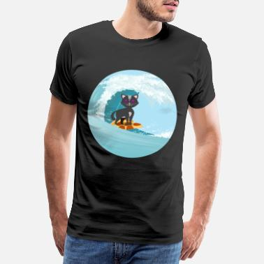 Cat Lover Cat Cute Funny Cat Wave Surfing Pizza Food - Men's Premium T-Shirt