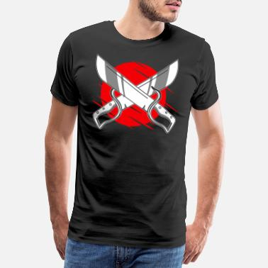 Shaolin crossed swords crossed knives - Men's Premium T-Shirt