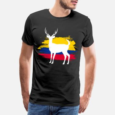 Colombia Flag Sambar deer animal Colombia flag country gift - Men's Premium T-Shirt