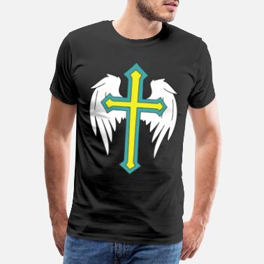 Crosses Angel wings with cross drawing - Men's Premium T-Shirt