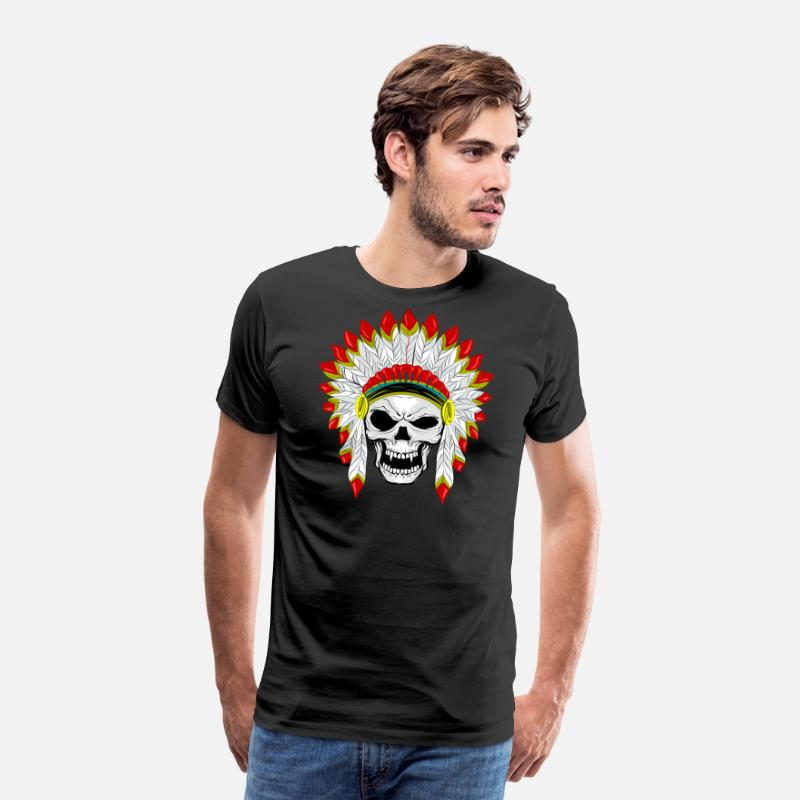 Death's Head T-Shirts - skull with plume of Indian feathers - Men's Premium T-Shirt black