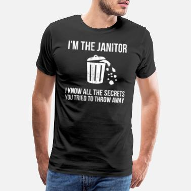 Present Funny Janitor Custodian Trash Can Distressed - Men's Premium T-Shirt