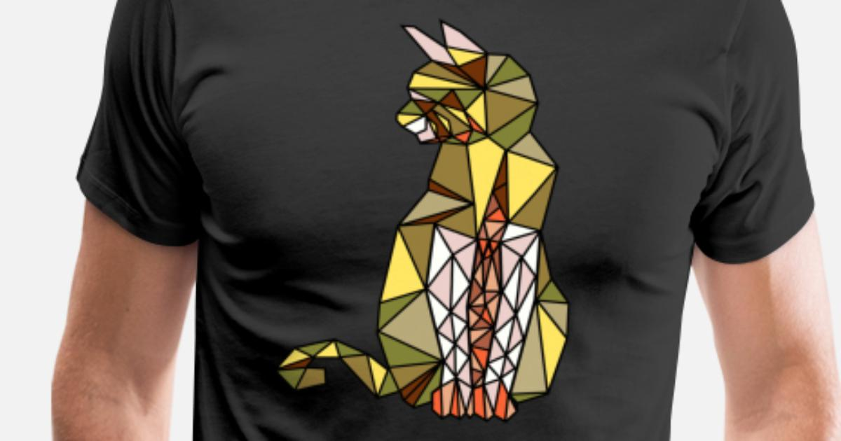 985e7c54d Cat wire mesh low poly polygon art gift Men's Premium T-Shirt | Spreadshirt