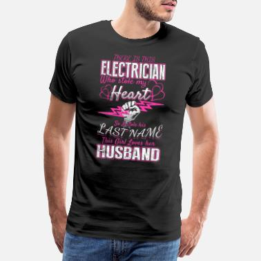 Hälften This Girl Love Her Husband Electrician – EN - Premium T-shirt herr