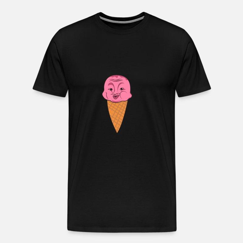 Glass kotte våffel frukt jordgubbe ansikte skratta barn Premium T shirt herr grågrön